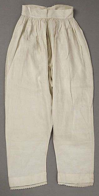 1846  Pantalets or Drawers, American or European.    White linen…