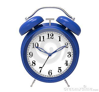 Blue alarm clock isolated on white background