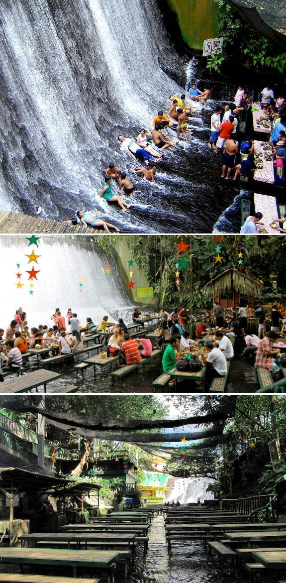 Ck out this restaurant. The water flows thru it. Cool! Waterfalls Restaurant Philippines