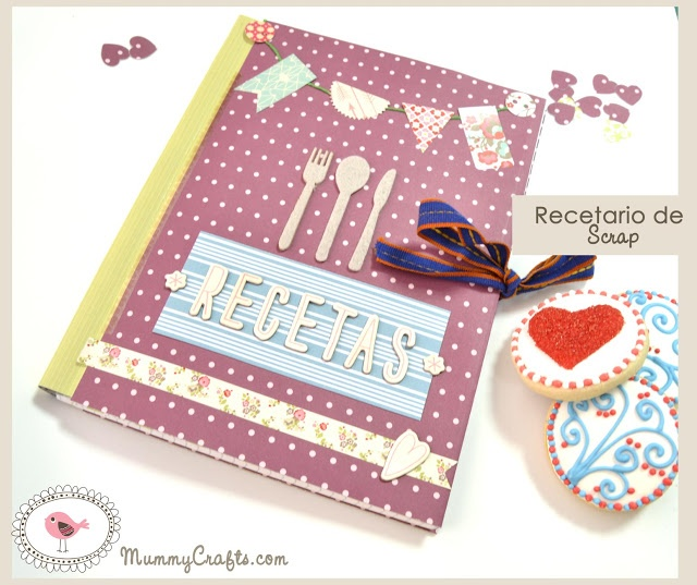 Tutorial recetario scrapbooking altered notebook.  Notebook recipes. Cuaderno de cocina. Libro alterado.
