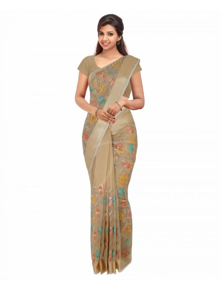 Organza Chikoo Colour Saree with Embossed Thread Design Along with Golden Thread Design Borders
