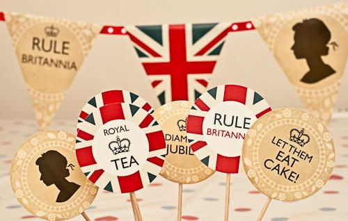 PRINTABLE Royal Jubilee Olympics Party Cupcake cake Toppers decorations union jack. $4.00, via Etsy.