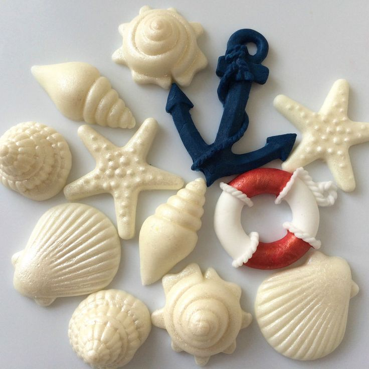 SEASHELLS ANCHOR LIFEBUOY edible nautical boat birthday wedding cake decorations in Home, Furniture & DIY, Cookware, Dining & Bar, Baking Accs. & Cake Decorating | eBay!