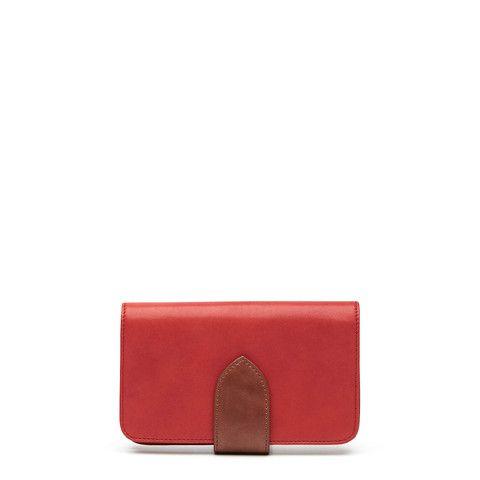 Sidewalk Wallet - Pomegranate/Tan – Harlequin Belle