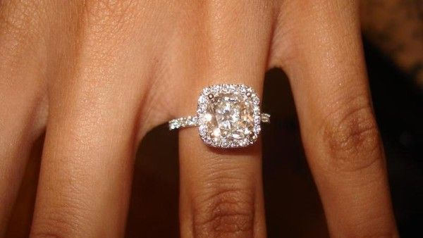 Gorgeous! Cushion cut, halo, thin pave band...SWOON!