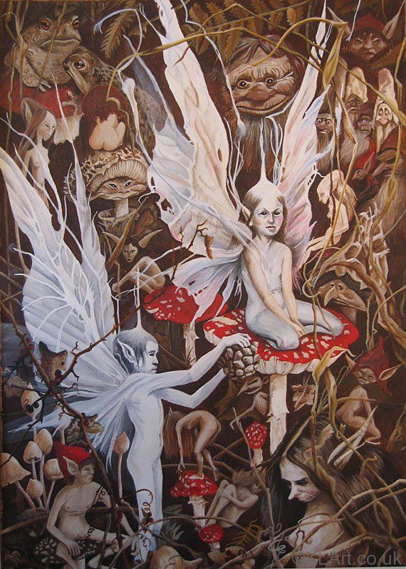 Faeries (after Brian Froud) | Acrylic on Paper | 16 X 20 ins Framed | 41 X 51 cm | Private Collection (NFS)