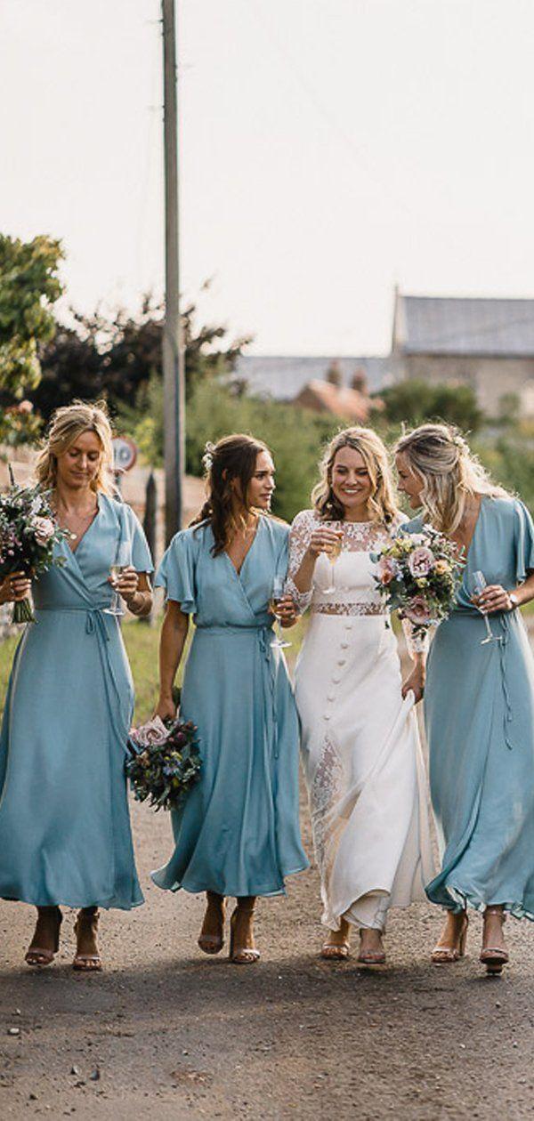 Light Blue Chiffon Half Sleeve Boho Wedding Long Bridesmaid Dresses Pb1082 Bridesmaid Dresses Boho Casual Bridesmaid Long Bridesmaid Dresses