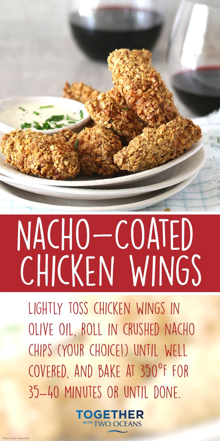 These nacho-coated chicken wings can be made with your favourite chips and enjoyed with your fave wine.