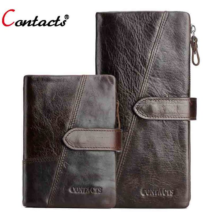 CONTACT'S Genuine Leather Men Wallets Purse Famous Brand Long men clutch bags Credit Card Holder Phone Money Bag Dollar Price -- View the item in details by clicking the image