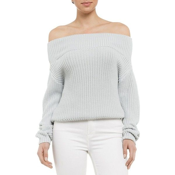 Bardot Alexa Cropped Off-the-Shoulder Sweater ($89) ❤ liked on Polyvore featuring tops, sweaters, blue, off the shoulder sweater, blue sweater, white off the shoulder top, blue crop top and pullover sweaters