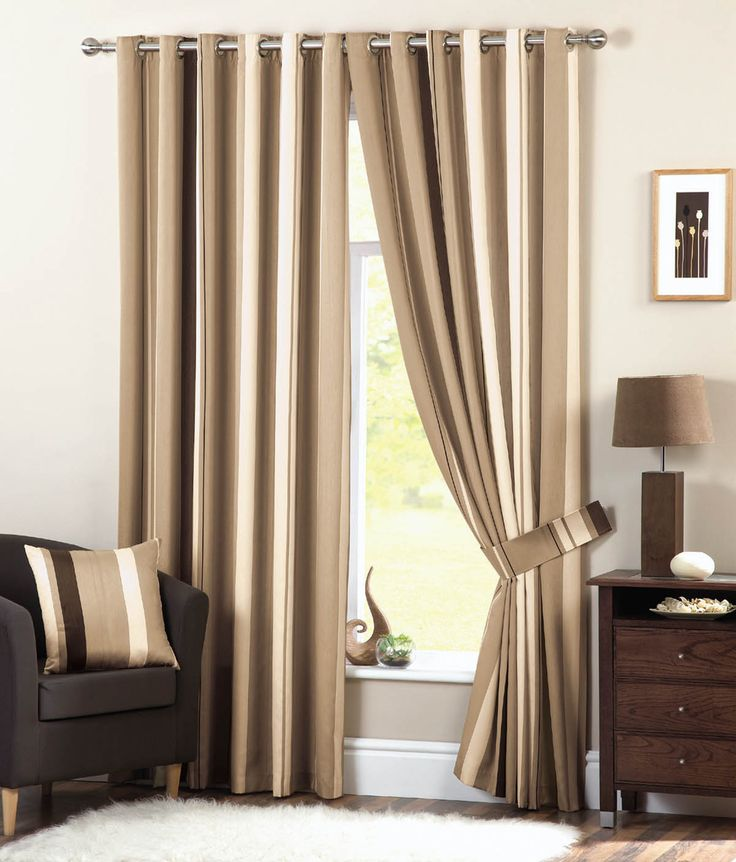 Dreams N Drapes Whitworth Stripe Eyelet Lined Curtains Natural 46 X 72 Inch