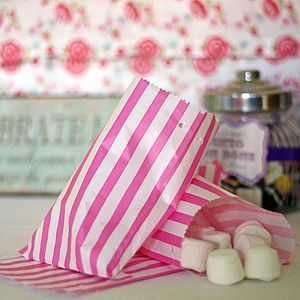 Pink Stripe Candy Paper Bags