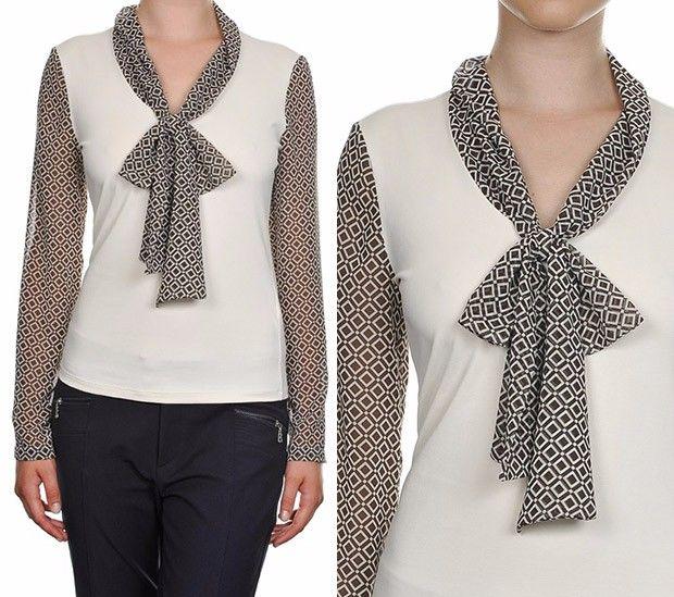 blusa de impresión óptica con camisas arco nara