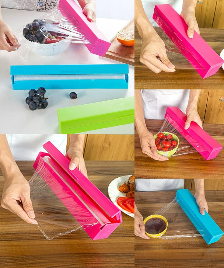 [Visit to Buy] Plastic Food Wrap Dispenser Preservative Cling Film Cutter Cooking Tool Kitchen Accessories Vegetable Roll Bags Cutter #Advertisement