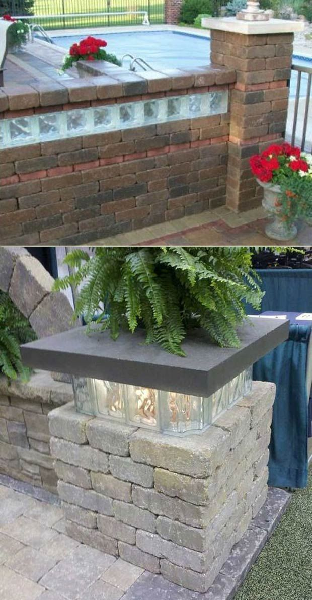 Glass Block Lights Used To Build Light Base Of A Pillar Or Added To Seat Walls Summer Patio Outdoor Outdoor Lighting