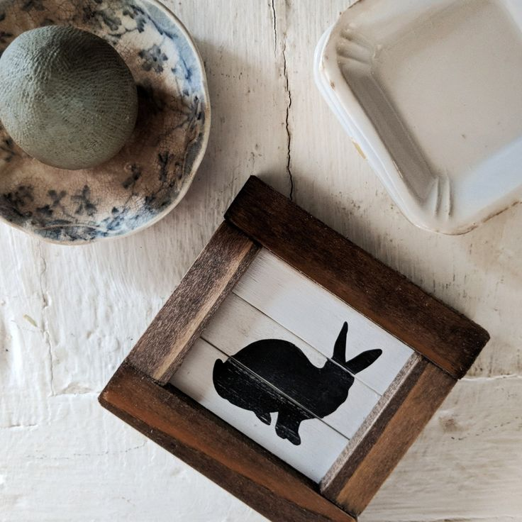 Rustic farmhouse inspired tiny bunny shiplap sign