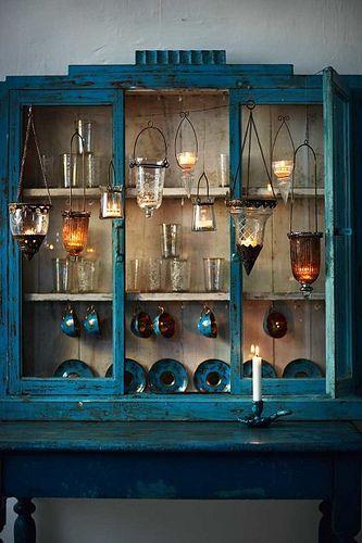 antique rustic blue cupboard glass door