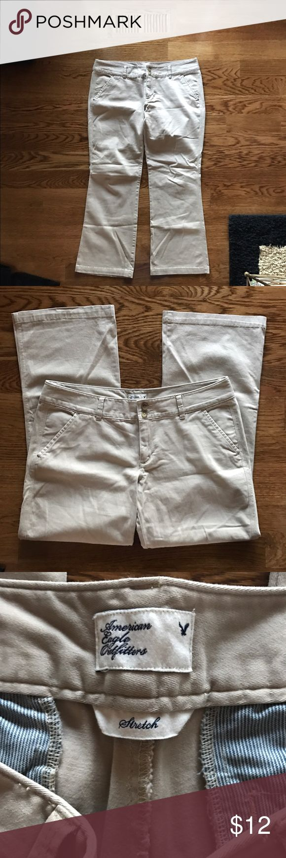 American Eagle Outfitters Stretch khakis Soft and supple khaki pants, sure to be one of you favorite pairs! Zero wear and tear on pant cuffs or on the inner thighs. Like wearing yoga pants to work! Size 12 SHORT, stretch style. American Eagle Outfitters Pants Trousers