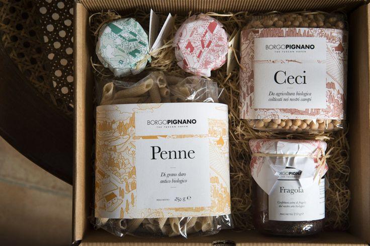 Gift packages at Borgo Pignano, Volterra, Tuscany, Italy