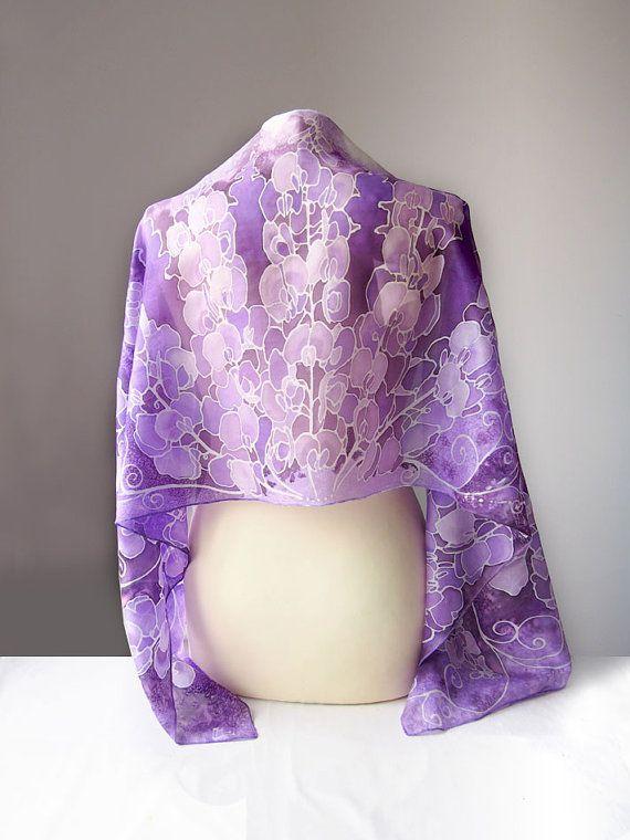 Sweet Pea silk scarf violet scarf purple scarves by MinkuLUL