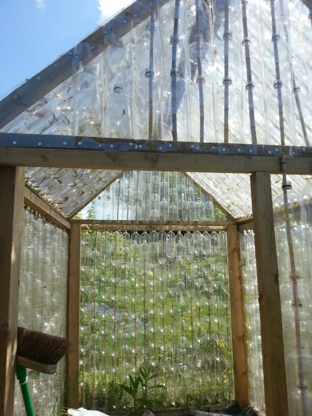 Plastic bottle greenhouse crafts pinterest plastic for Homemade greenhouse plastic