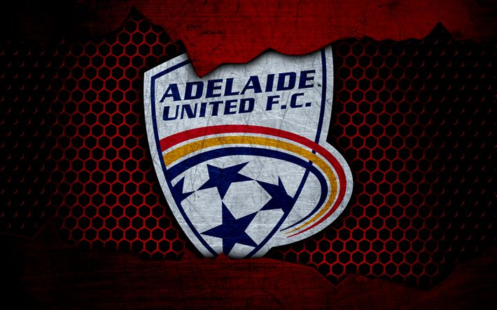 Download wallpapers Adelaide United, 4k, logo, A-League, soccer, football club, Australia, grunge, metal texture, Adelaide United FC