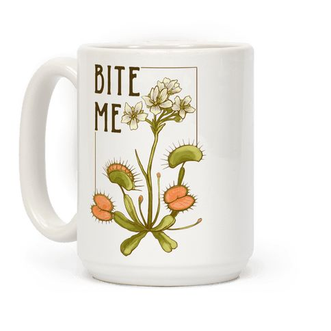 """Bite Me Venus Flytrap - This hipster venus fly trap mug is great for feminists who take no shirt and love them some botanical illustrations of carnivorous plants like this """"Bite me!"""" venus fly trap print. This feminist mug is perfect for fans of hipster shirts, floral mugs, feminist mugs and botanical art."""