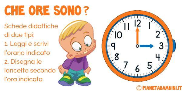 Imparare a leggere l'orologio: schede didattiche ed esercizi