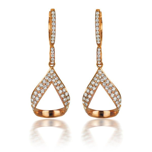 You are looking at the elegant Rose Drop Earrings. Crafted in 18K rose gold and set with a total of 1.20ct sparkling diamonds.
