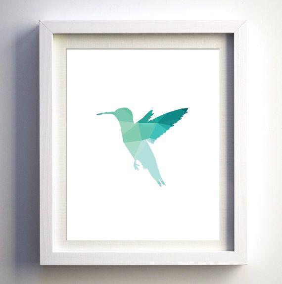 Silueta de pájaro de Teal Aqua turquesa pared arte Colibrí geométricas imprimir verde azulado Colibrí pared arte vivero decoración imprimir arte moderno vivero