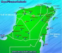 mapa de la peninsula de yucatan