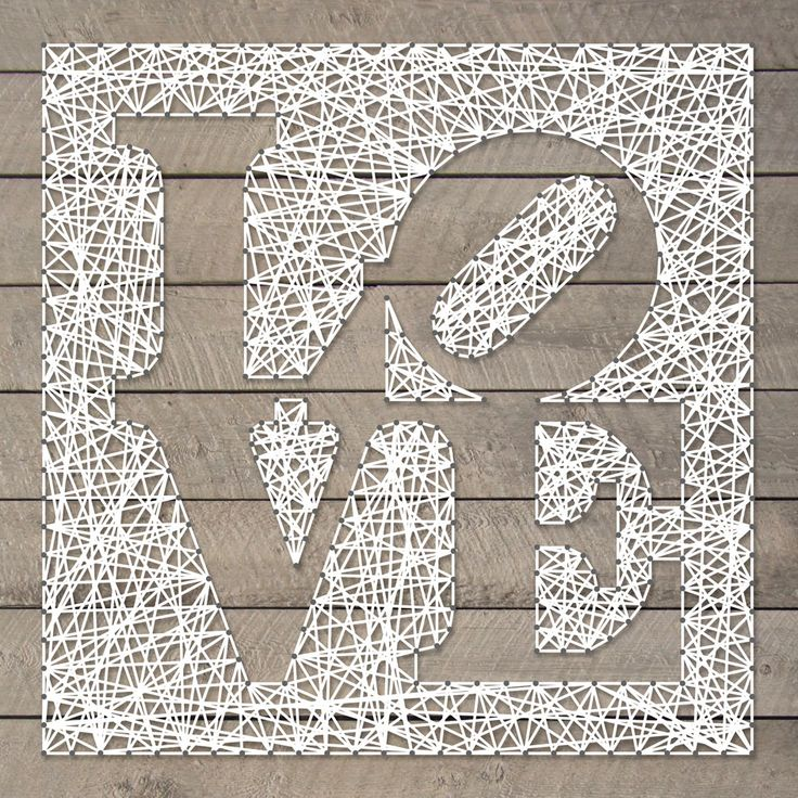 String-art pattern sheet LOVE (designed by Robert Indiana) 50 x 50cm