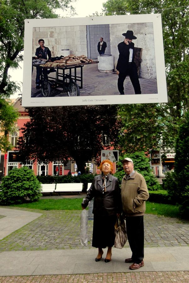 Pictures of jews on the Singing Fountain Square of Kosice.