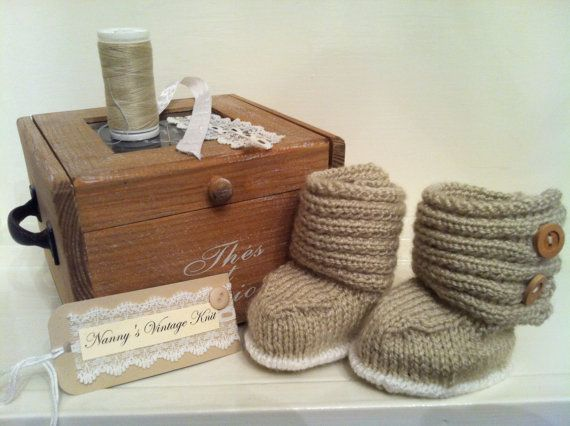 Handmade baby boots with wooden button detail by NannysVintageKnit, £6.00