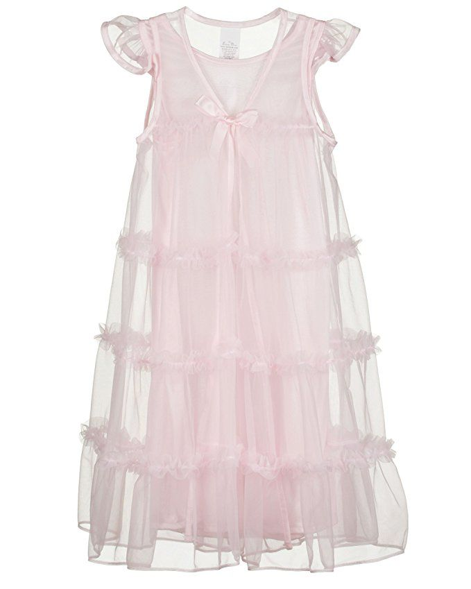 d34ede501 Laura Dare Little Girls Pink Princess Peignoir Nightgown and Robe ...