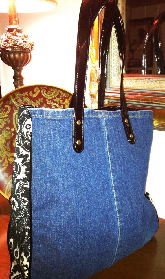 Recycled Denim Lined Tote Bag that Gives Back to by kismethandbags, $129.00