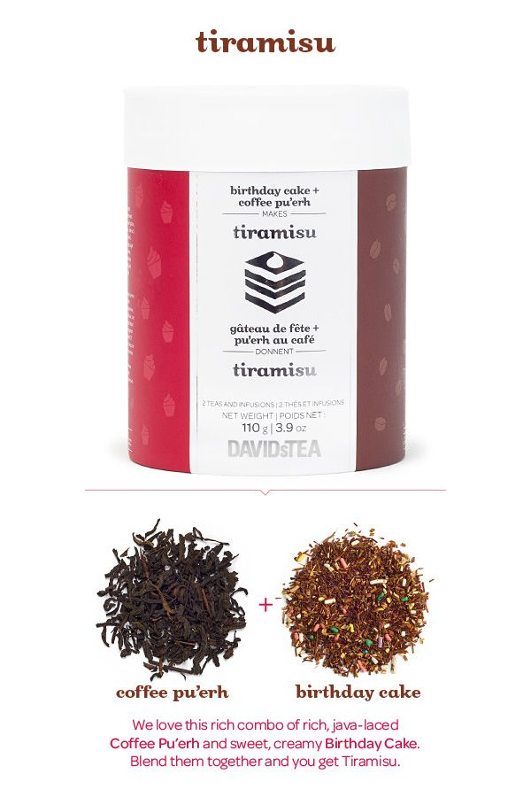 A combo of rich, java-laced Coffee Pu'erh and sweet, creamy Birthday Cake. Blend them together and you get Tiramisu. And with each tea in its own compartment, you can mix them up however you like it – or just enjoy them on their own.