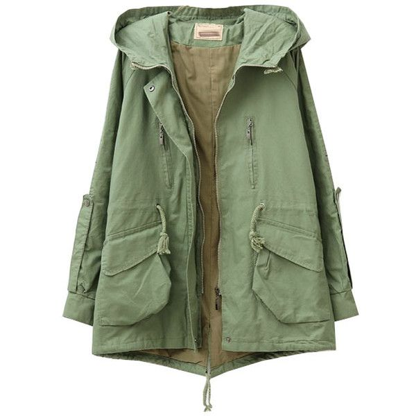 Drawstring Hooded Big Pockets Wind-coat (67 CAD) ❤ liked on Polyvore featuring outerwear, coats, jackets, tops, green coat, cotton coat, hooded coats and green hooded coat