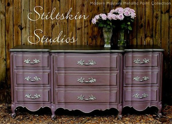 End Of Bed Dresser Paint? This Dresser Was Beautifully Accented With Modern  Masters Smoke Metallic Paint