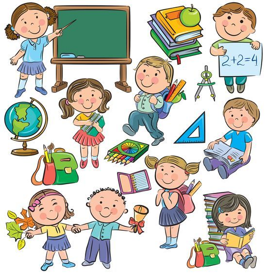 Школьники, ученики и школьные принадлежности