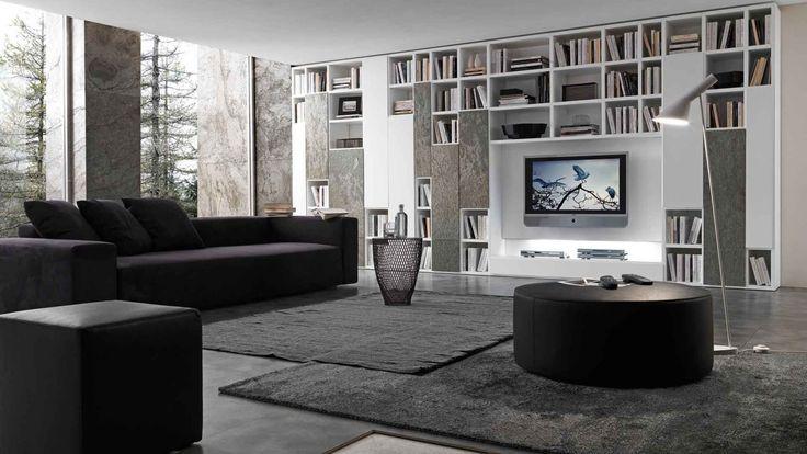 Pari&Dispari knihovna v obývacím pokoji / modern bookcase in living room