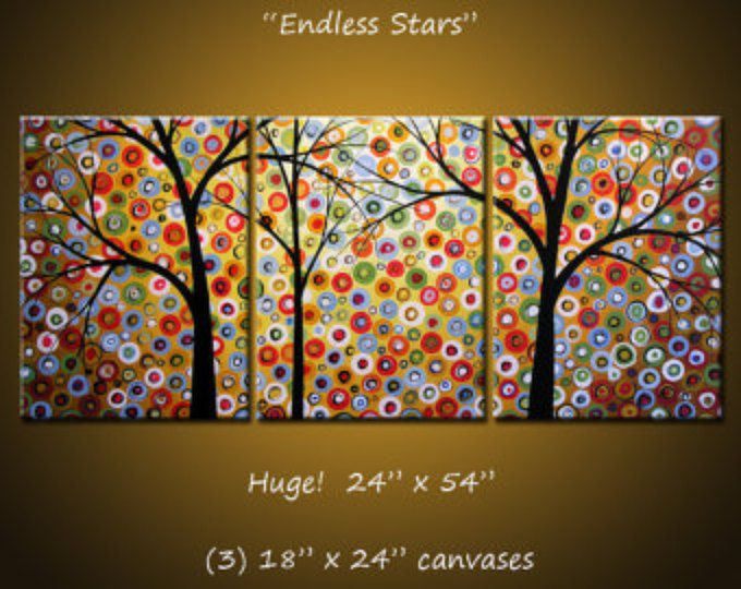 "Extra Large Wall Art Triptych Original Large Abstract Painting Modern Contemporary Landscape Trees // 24"" x 54"" // ""Endless Stars"""