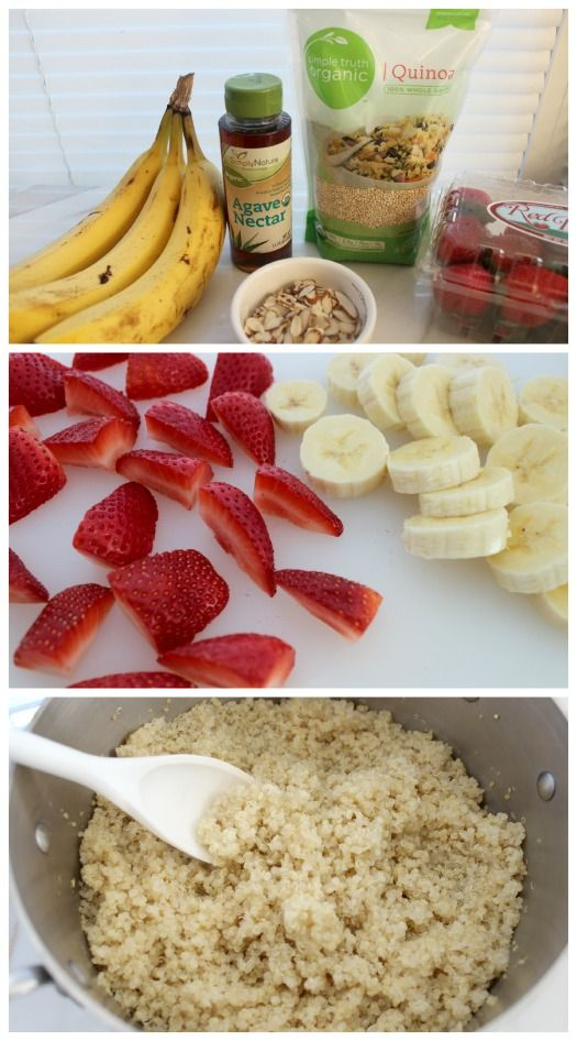 quinoa breakfast bowl with fruit and agave nectar. Quick, easy and high in protein.