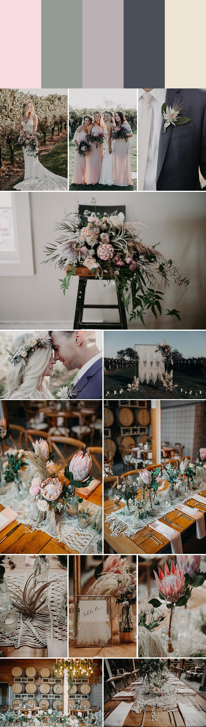 Spring wedding color palette idea: barely blush + sage green + fog + slate + cotton | Image by Corey Lynn Tucker Photography