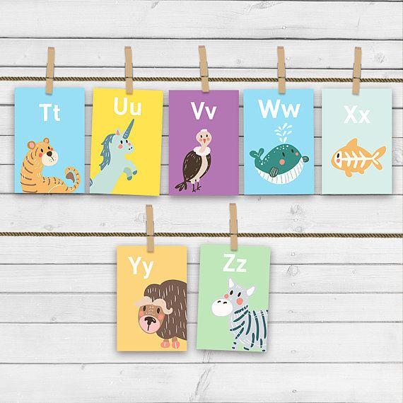 Animal alphabet card set Alphabet flash cards abc Nursery wall