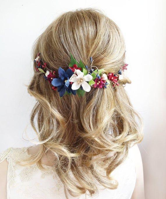 burgundy and navy hair piece, burgundy hair comb, burgundy hair piece, navy hair clip, navy hair acc