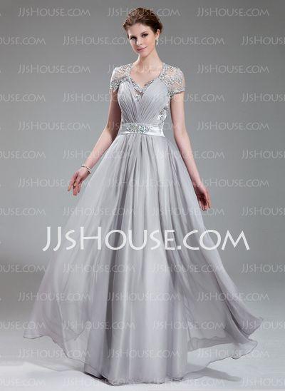 Evening Dresses - $186.99 - A-Line/Princess V-neck Floor-Length Chiffon Charmeuse Evening Dress With Ruffle Lace Beading (017019722) http://jjshouse.com/A-Line/Princess-V-neck-Floor-Length-Chiffon-Charmeuse-Evening-Dress-With-Ruffle-Lace-Beading-017019722-g19722?size=06&utm_term=19722&gclid=CM-Q0OOdzrsCFcVFMgodmyAAew