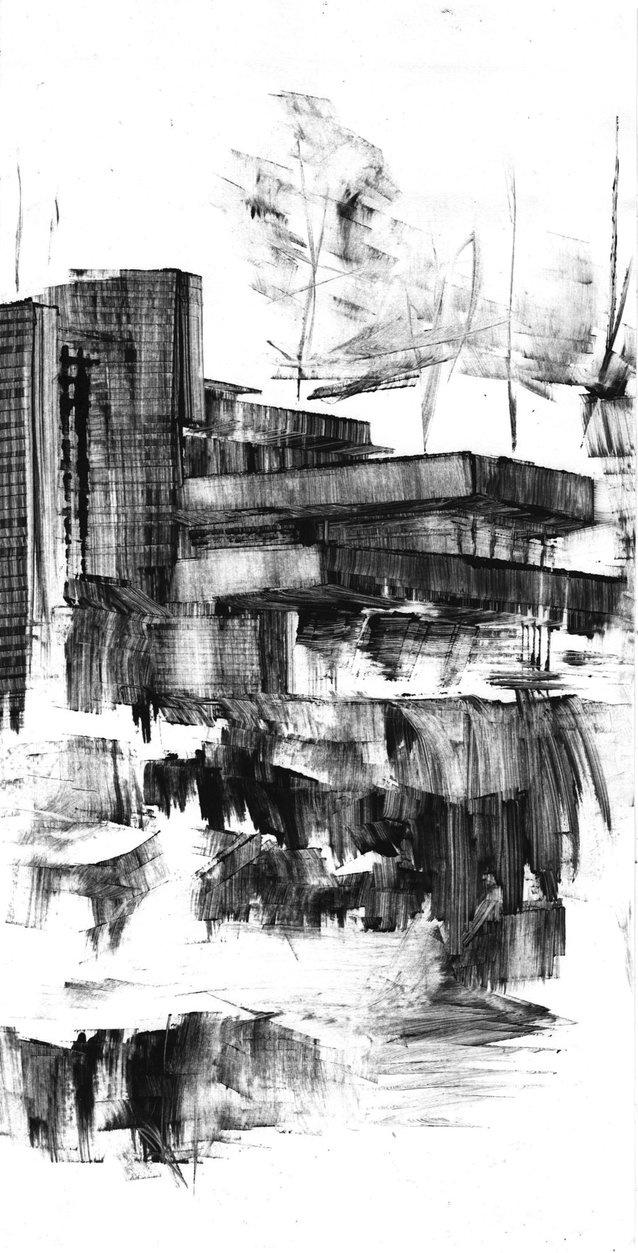 Fallingwater III (monotype print) by Daryl Alexsy