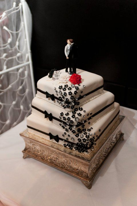 Gay Wedding Cake - I like the slightly rotated layers on a square cake