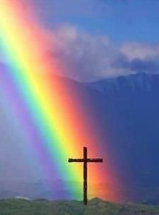 God's rainbow shining down from heaven.